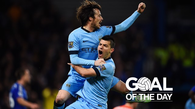 CHEER: David Silva scores against Chelsea in the 2014/15 season