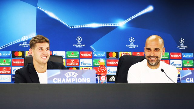 CHAMPIONS LEAGUE: John Stones and Pep Guardiola speak to the press.