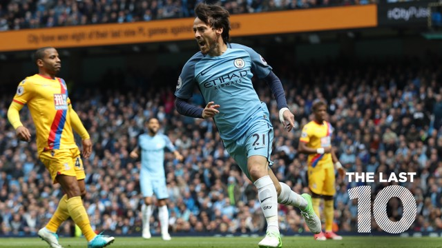 SILVA BULLET: David Silva wheels away after finding the net against Crystal Palace