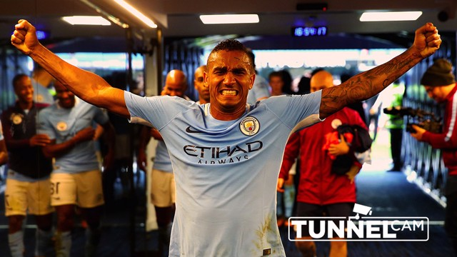 TUNNEL CAM: Danilo expresses his delight, following the 5-0 win over Crystal Palace