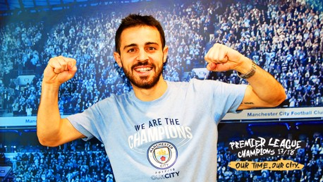CHAMPIONS: Bernardo Silva discovered he had become a Premier League winner for the first time sat in his pyjamas