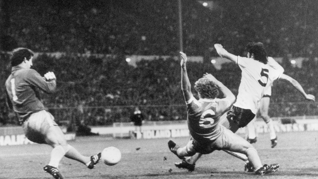 TOMMY CATON: The City defender attempts to stop Ricky Villa's spectacular solo goal in the 1981 FA Cup final