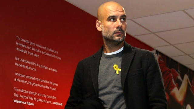 PEP TALK: Guardiola wants his players to focus on United after the defeat to Liverpool in the UCL