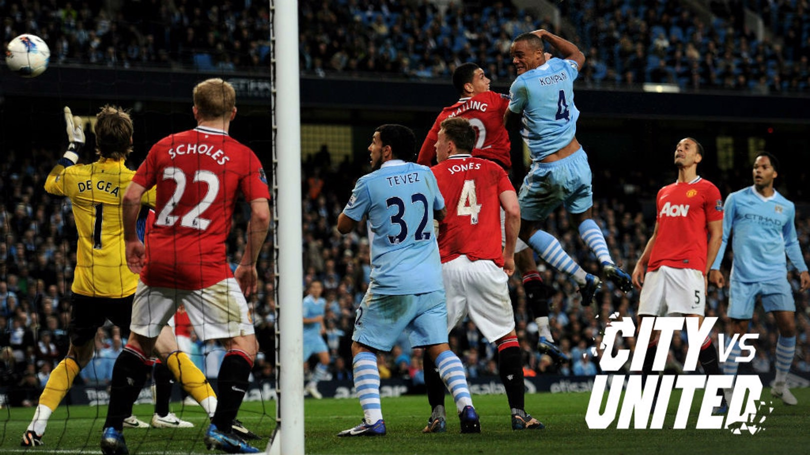 MOMENTOUS: Vincent Kompany powers home a header in 2012.