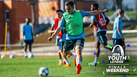 BLUE BOY: Luke Bolton trains ahead of the UEFA Youth League final.