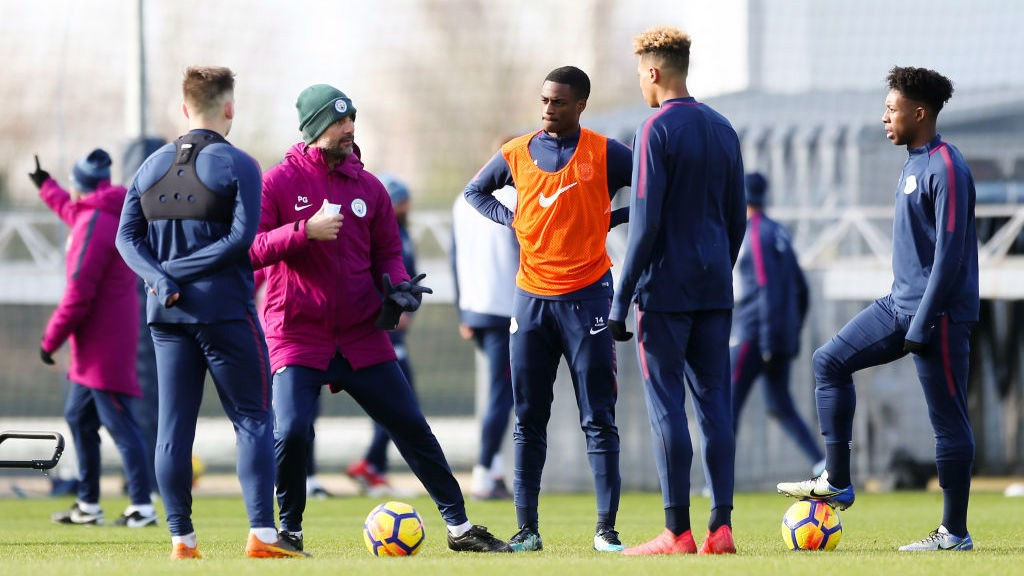 LEARNING: Ogbeta in training with Pep Guardiola.