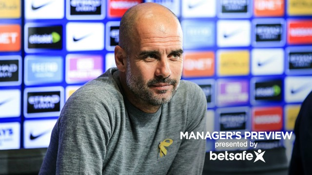 EYES ON THE PRIZE: Pep Guardiola's focus is firmly fixed on Saturday's Etihad derby with Manchester United