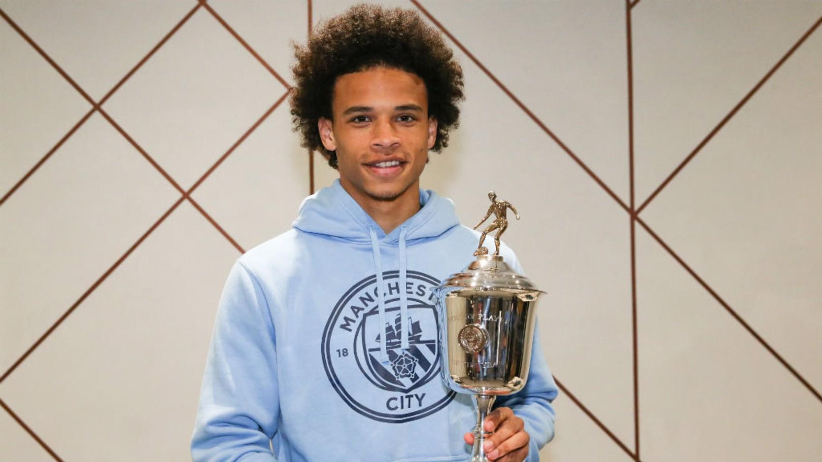 PRIZE GUY: Leroy Sane with his PFA award
