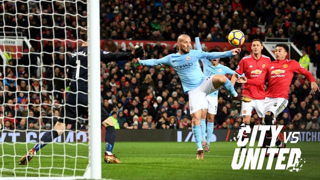 ON TARGET: David Silva scores at Old Trafford.