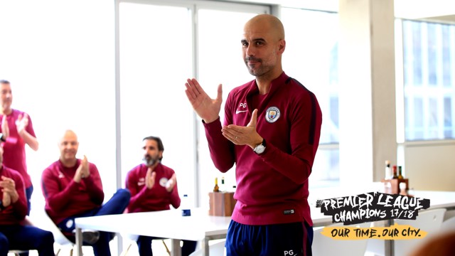 CHAMPIONS: Pep Guardiola addressed his players and staff this week to congratulate them on their title win