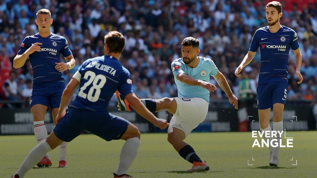 DOUBLE CENTURY: Sergio Aguero lashes home his 200th goal for City during our Community Shield win over Chelsea