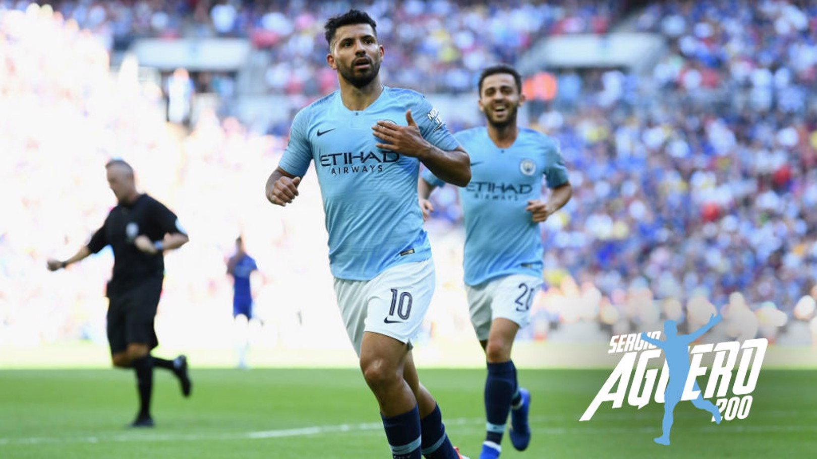 LANDMARK: Sergio Aguero celebrates after scoring his second goal in the 2-0 Community Shield win over Chelsea