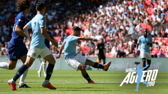 SHARP SHOOTER: Sergio Aguero scores his 200th goal