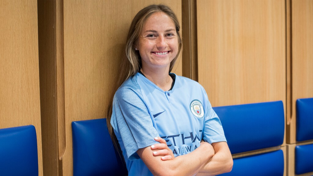 NEW BLUE: Janine Beckie sporting her new colours