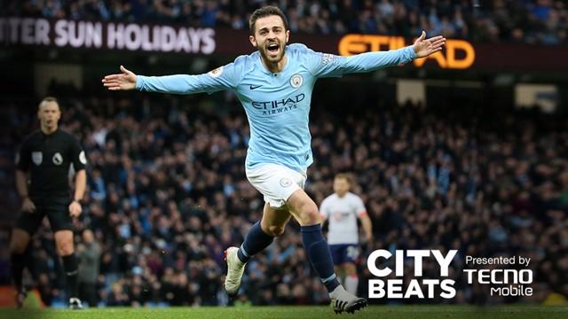 CITY BEATS: Bernardo Silva celebrates his opener against Bournemouth
