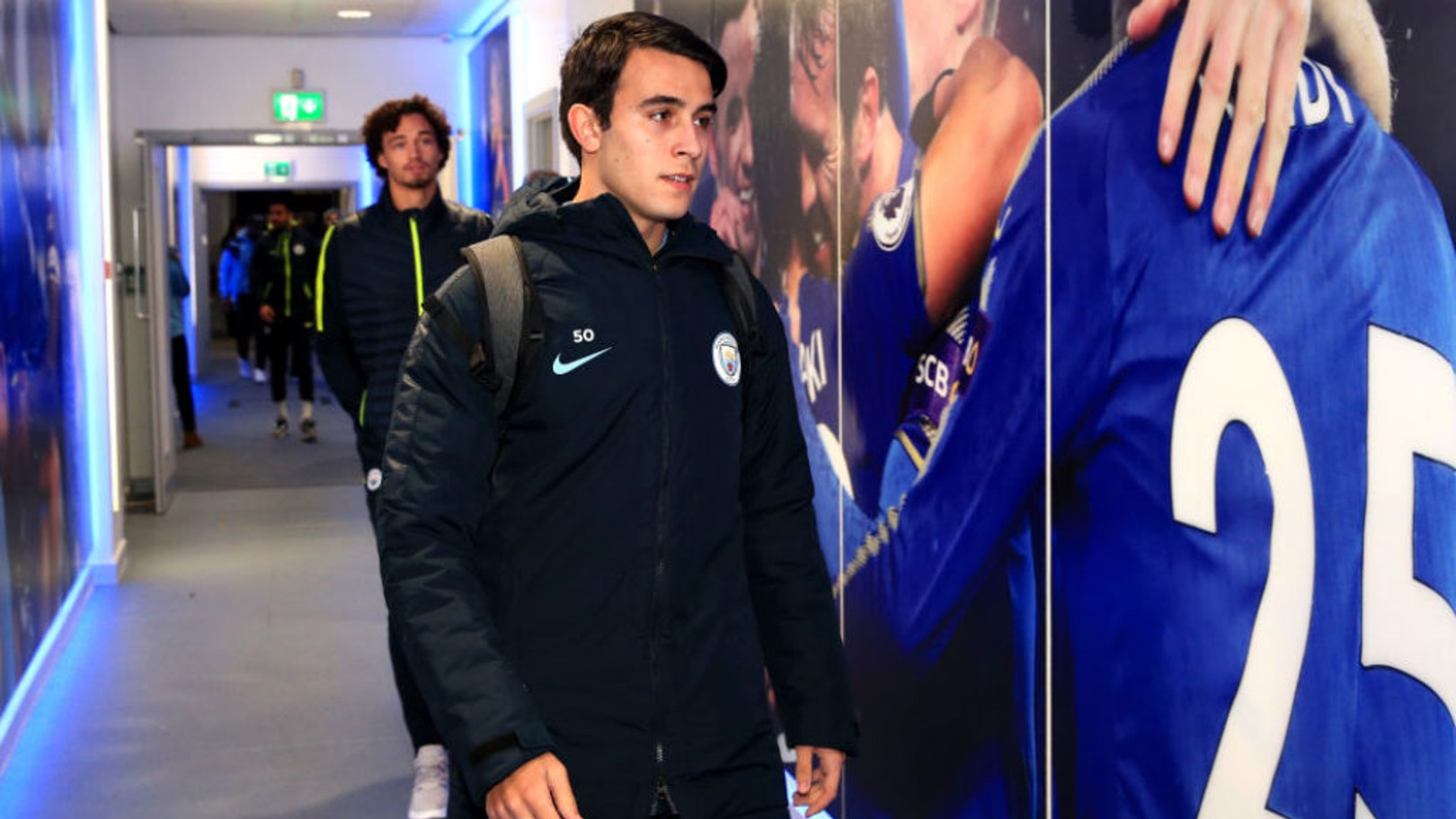 ACTION STATIONS: Eric Garcia arrives at the King Power Stadium