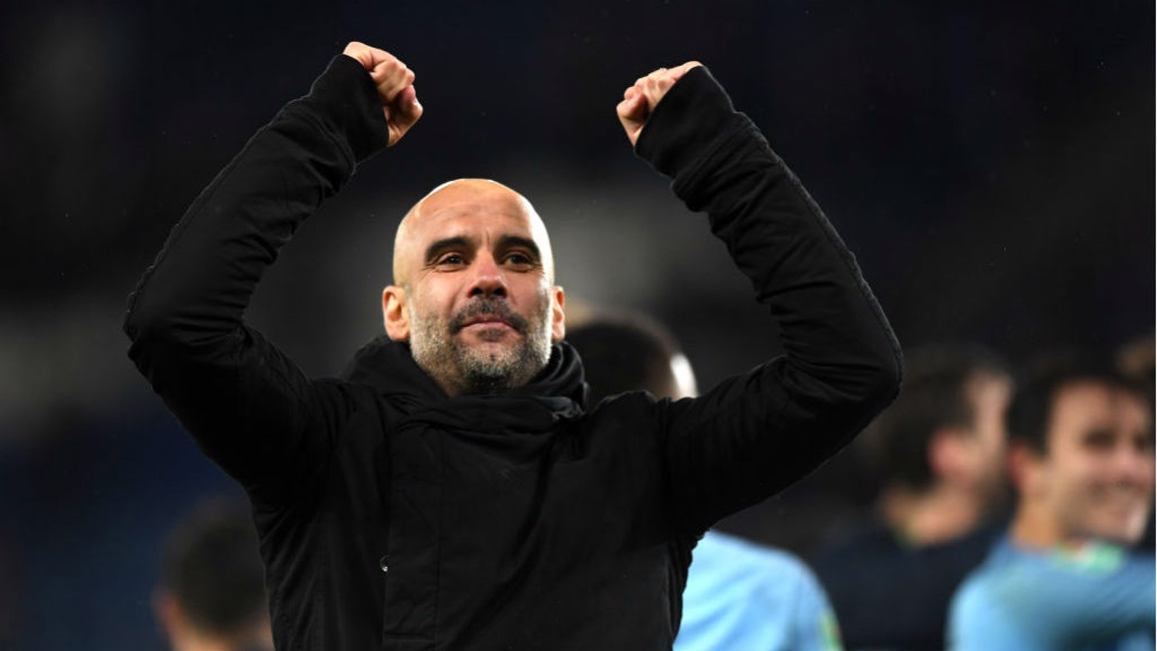 ALL SMILES: Pep Guardiola salutes the City fans after the Blues' spot-kick win