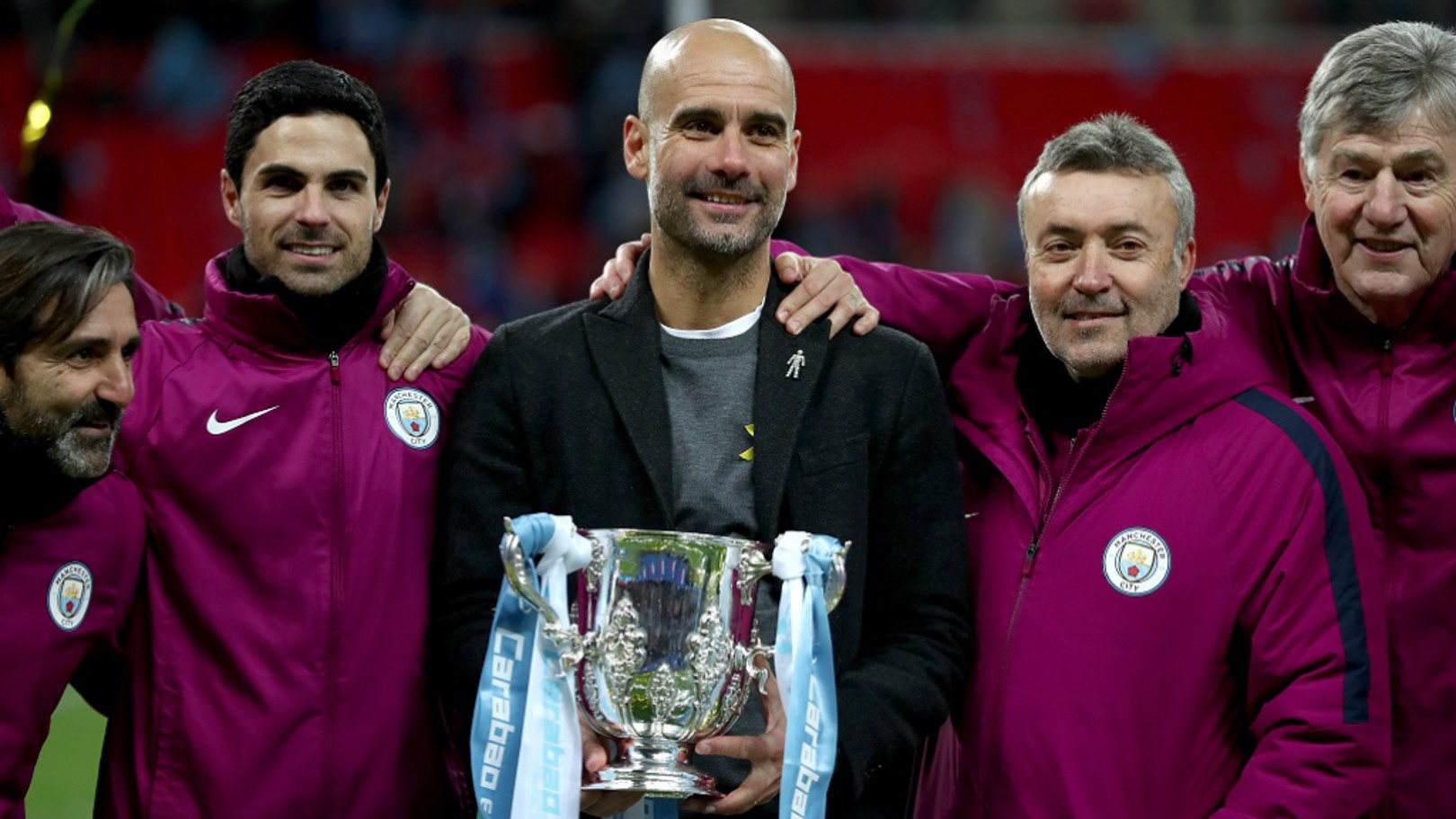 TROPHY SUCCESS: Pep Guardiola's first piece of silverware as City boss...