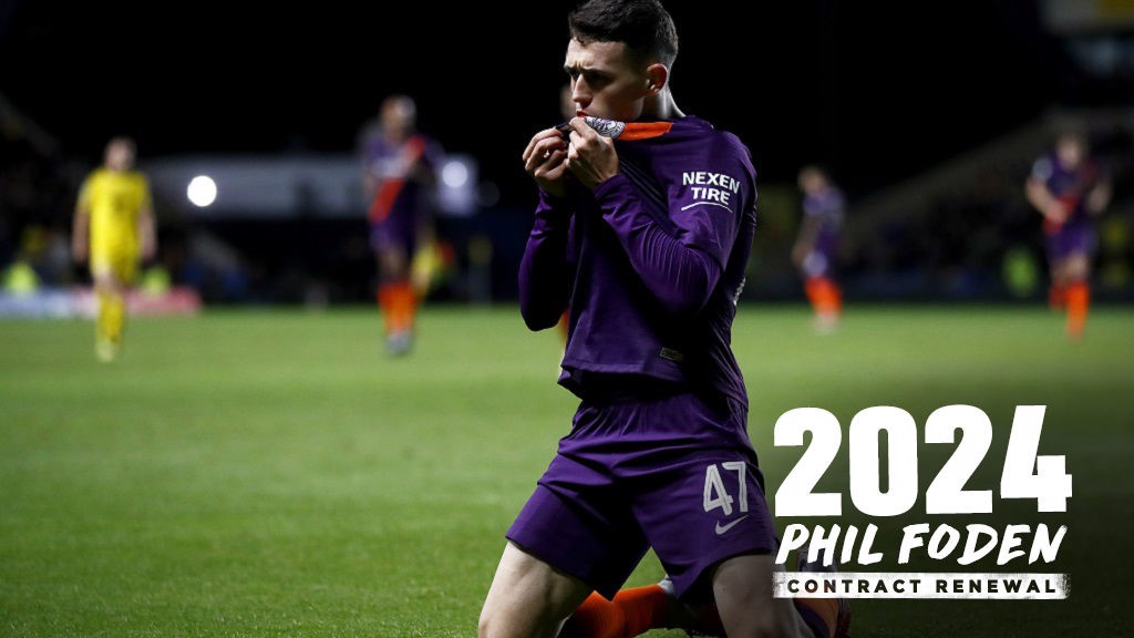PHIL THE POWER: Foden grabs his first senior goal against Oxford United