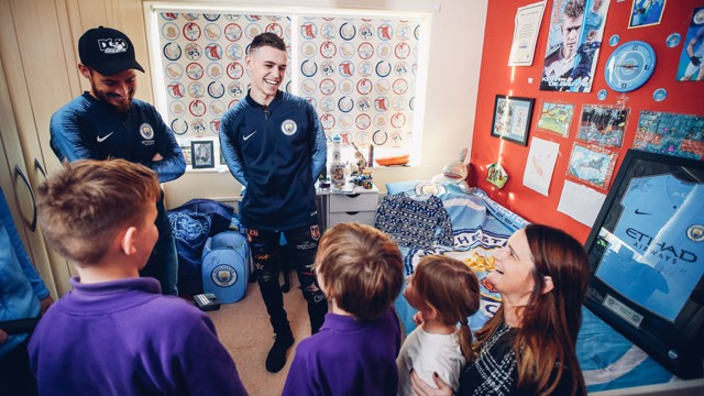 XMAS SURPRISE: David Silva and Phil Foden gave the Clark's a wonderful surprise