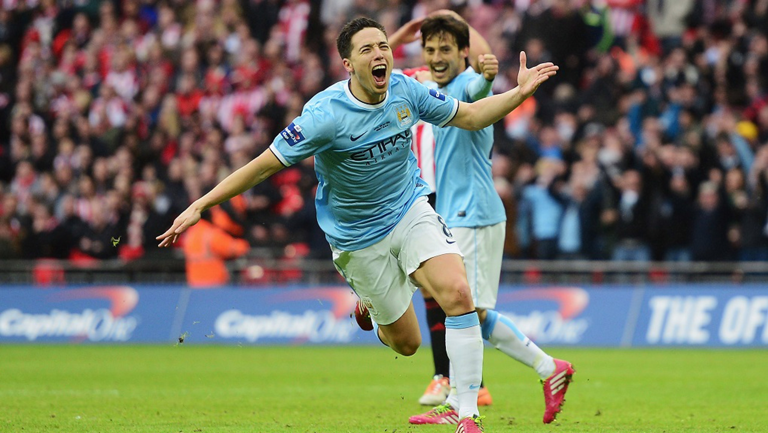 2014: Samir Nasri scores a beauty to put the Blues 2-1 up against Sunderland, just minutes after Yaya Toure's 30-yard screamer
