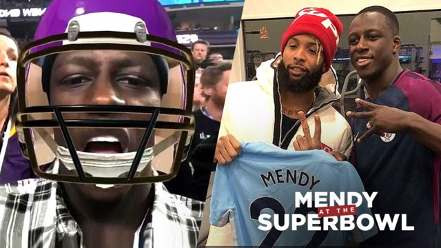 STATESIDE SMASH: Benjamin Mendy proved a big hit on his whirlwind trip to the USA for the Super Bowl