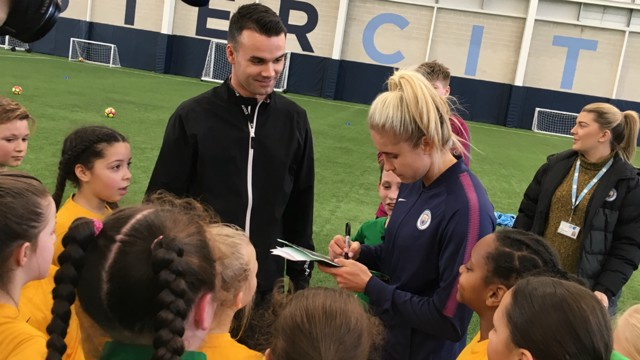 CITC: A group of schoolchildren were joined by a host of City stars at a CITC appearance.