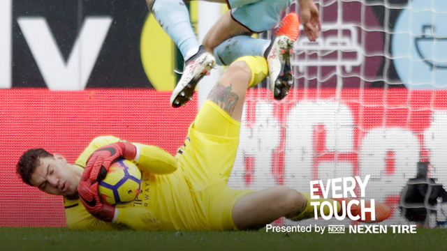 EVERY TOUCH: Ederson's superb display against Burnley.