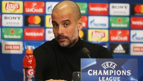 PRESS CONFERENCE: Pep Guardiola addresses journalists ahead of the FC Basel Champions League game.
