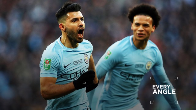 ON TARGET: Sergio Aguero opened the scoring in the Carabao Cup final.