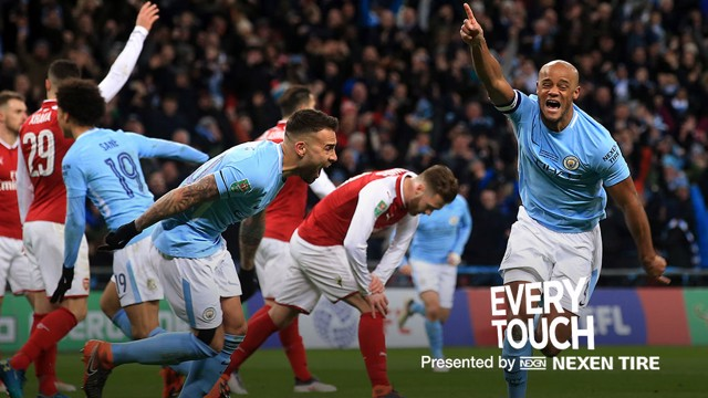 HERO: Vincent Kompany celebrates his goal at Wembley.