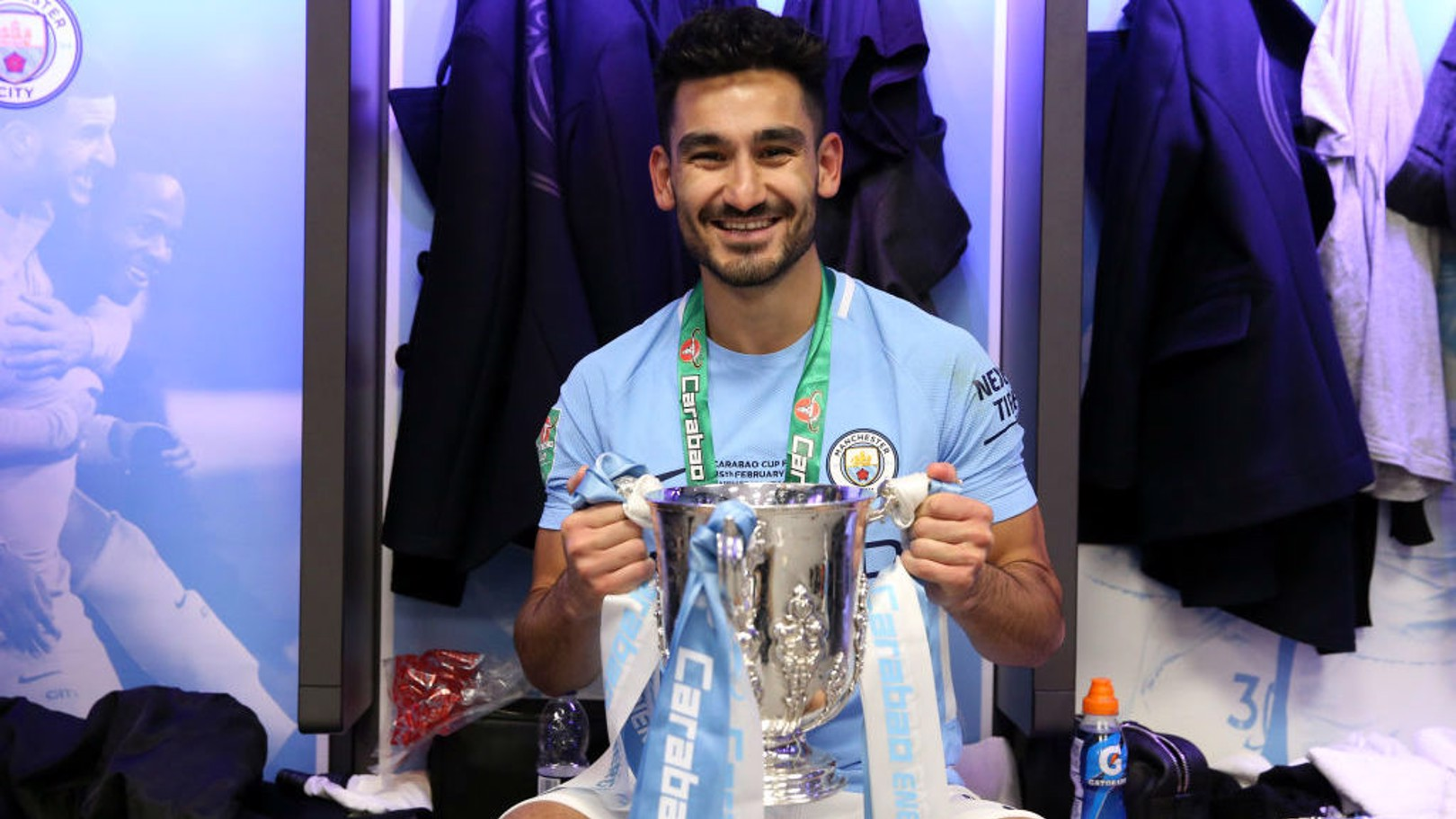 SILVER SERVICE: Ilkay Gundogan celebrates the Carabao Cup win.