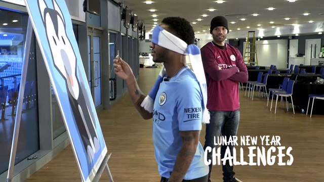 CHALLENGE TIME: Raheem Sterling and Joleon Lescott during City's Chinese New Year challenge competition
