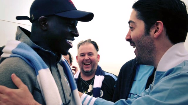 SURPRISE: Benjamin Mendy meets City fans at the top of the Rockerfeller Centre.