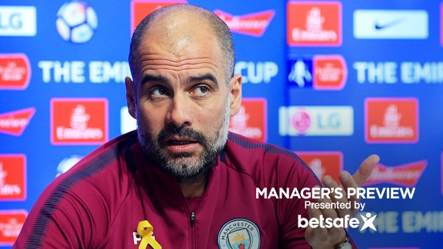 LISTENING: Pep Guardiola listens intently to a question from the media