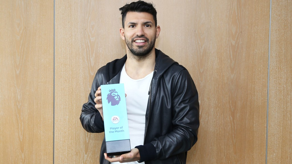 PRIZE GUY: Sergio Aguero with January's award