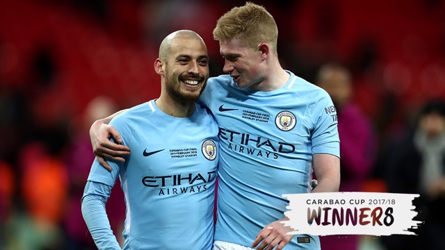 WHAT A DUO: City's midfield maestros celebrate at full-time