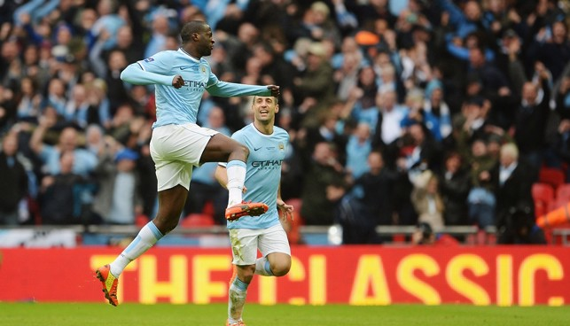 2014: Pick that one out! Yaya scores with an incredible long-range effort to level the scores with Sunderland