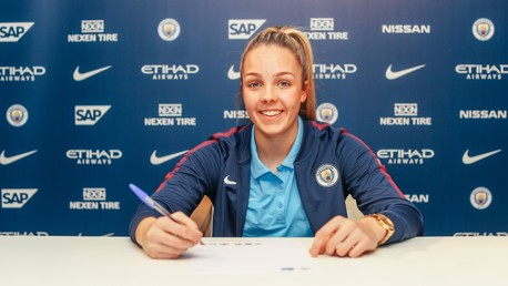 NEW DEAL: Ellie Roebuck signs her first professional contract with the club.