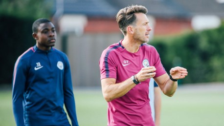 INSTRUCTION: Gareth Taylor works with the U18s on the training ground.