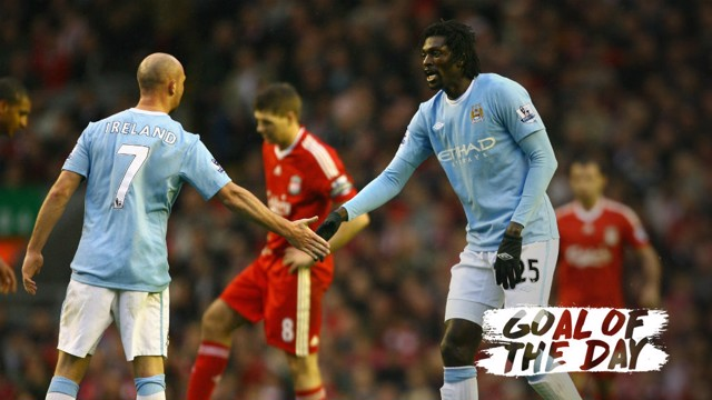 ON TARGET: Emmanuel Adebayor netted against Liverpool in 2009.