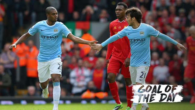 GOAL: David Silva celebrates his strike against Liverpool in 2014.