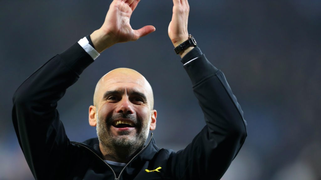 APPLAUSE: Pep Guardiola celebrates.