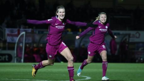 CELEBRATION: Jill Scott reacts to scoring against Reading.