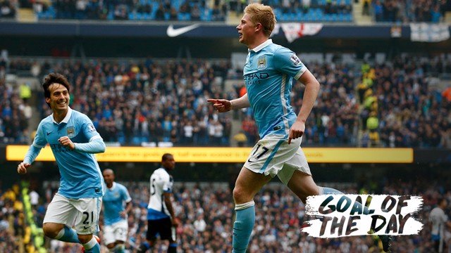 PING IT: Kevin De Bruyne scores a wonderful goal against Newcastle
