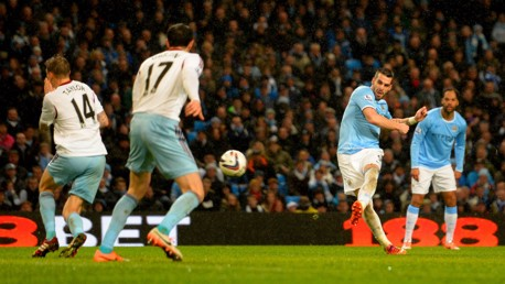 STRIKE: Alvaro Negredo hit five against West Ham over two legs in the 2014 League Cup semi-final.
