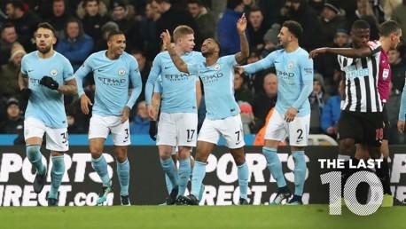 STRIKE: Raheem Sterling celebrates scoring against Newcastle in December 2017.