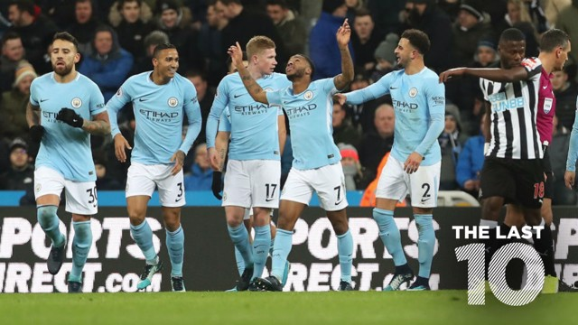 STRIKE: Raheem Sterling celebrates scoring against Newcastle in December 2017.