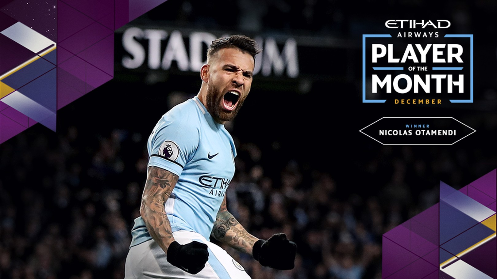 WINNER: Nicolas Otamendi is the December Player of the Month.