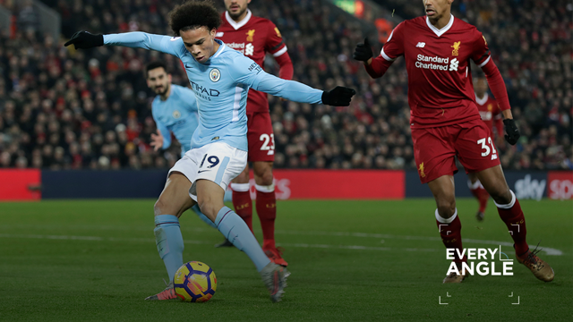 GOAL: Leroy Sane unleashes against Liverpool.